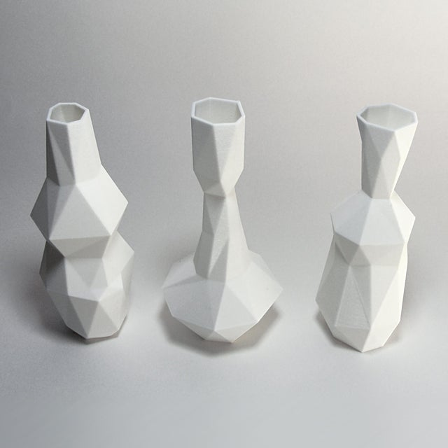White 3D Printed Cubist Art Vases - Set of 3 - Image 3 of 5
