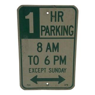 "Vintage Metal ""One Hour Parking"" Sign For Sale"