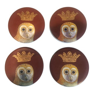 Owl With Crown Coasters - Set of 4