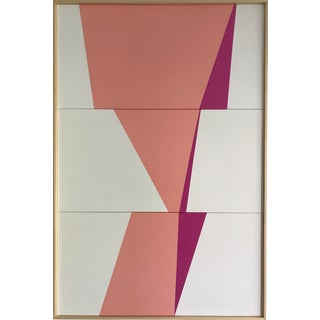 """Original Acrylic Painting """"Pink Formation Triptych Jet0520"""" For Sale"""