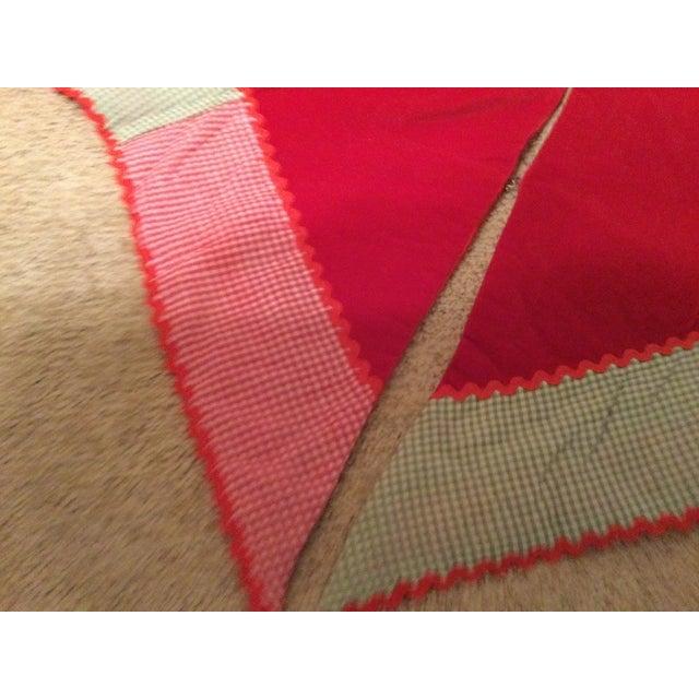 Textile Vintage Red Velvet Tree Skirt For Sale - Image 7 of 11