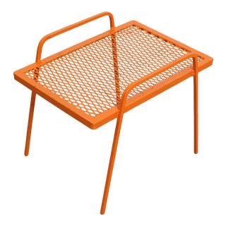 Vintage Mid-Century Modern Atomic Orange Metal End Table For Sale
