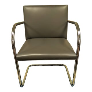 Knoll Tubular Brno Chair in Grey Leather For Sale
