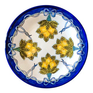 Italian Hand Painted Large Lemon Decorative Platter For Sale