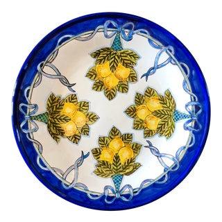 Italian Hand Painted Large Lemon Decorative Platter For Sale