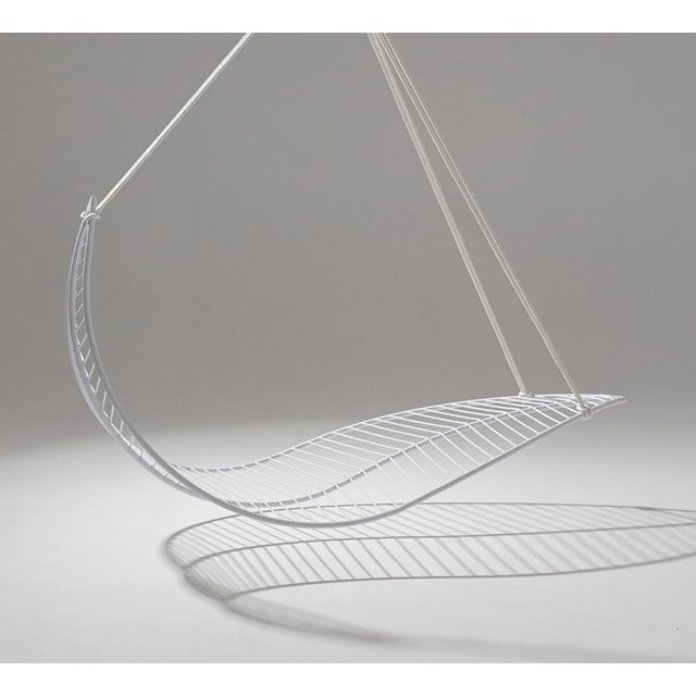 Contemporary Leaf Hanging Swing Chair - White For Sale - Image 3 of 7