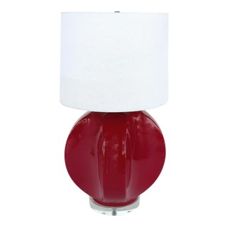 Vintage Red Ceramic Table Lamp on Lucite Base For Sale