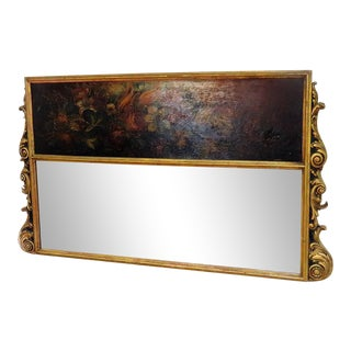 Antique Regency Style Trumeau Mirror For Sale