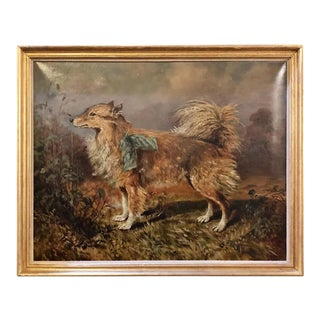 19th-20th Century Oil on Canvas of a Dog in a Landscape by Raymond Dearn For Sale