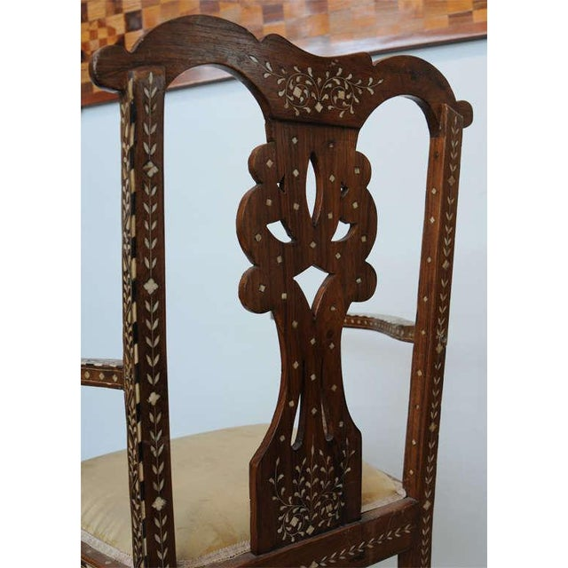 White Rare Set of Four Anglo-Indian Hardwood and Bone Inlaid Armchairs For Sale - Image 8 of 11
