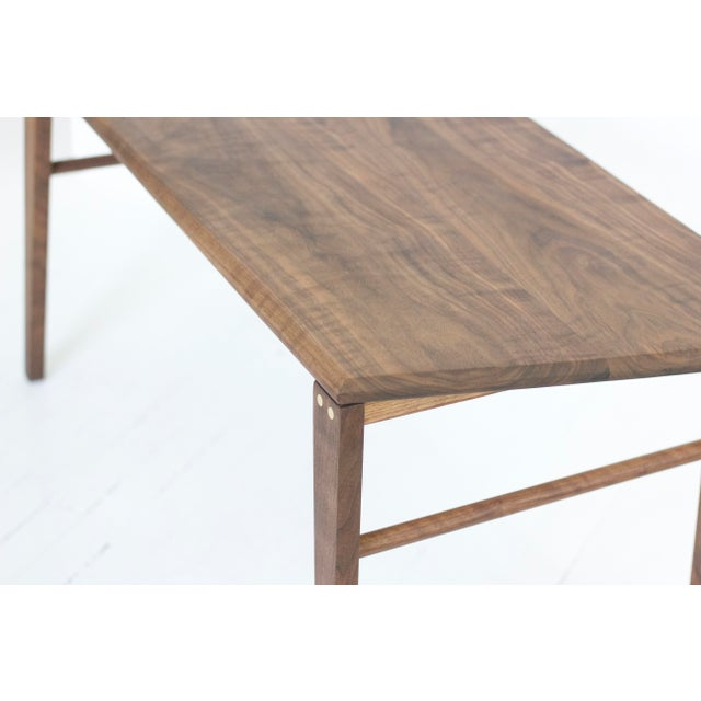Minimalist Solid Claro Walnut Geometric Coffee Table For Sale - Image 4 of 6