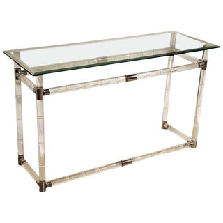 Charles Hollis Jones Lucite Bamboo Console Table