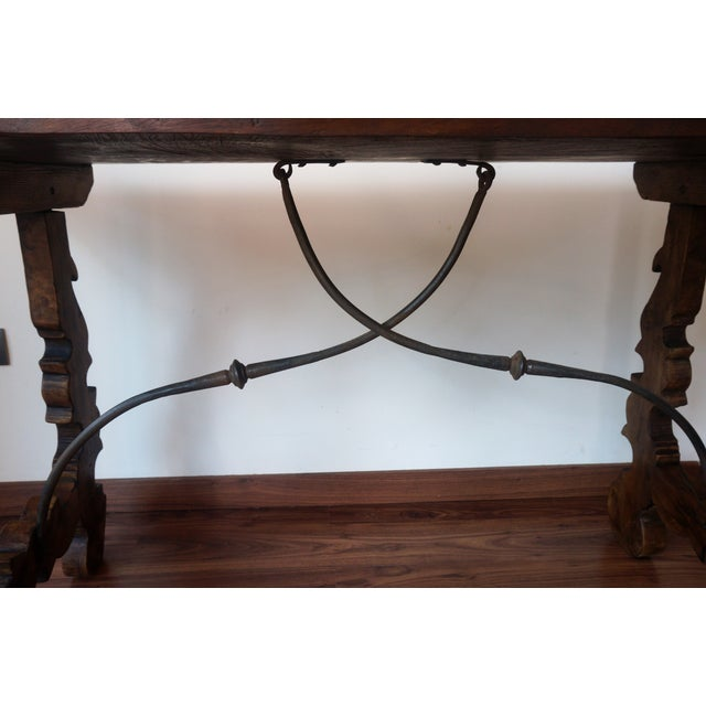 18th Century Refectory Spanish Table with Lyre Legs For Sale - Image 4 of 8