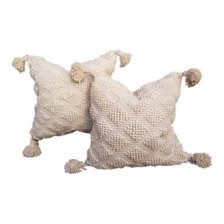 Pair Fluffy Cotton Moroccan Wedding Quilt Pillows For Sale