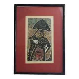 "1992 Signed Segun Adeku ""In the Rain"" Linocut Print on Rice Paper For Sale"