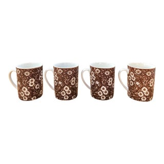 Calico Brown and White Floral Chintz Mugs - Set of 4 For Sale