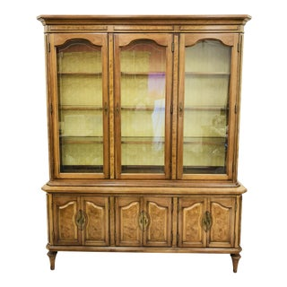 Mid-Century Burl China Cabinet For Sale
