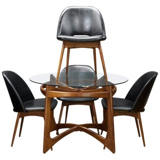 Adrian Pearsall Walnut Table Black Chairs Dining Set Kitchen Nook Mad Men For Sale