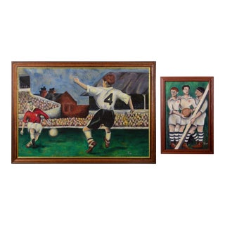 Folk Art Soccer Oil Paintings - a Pair For Sale
