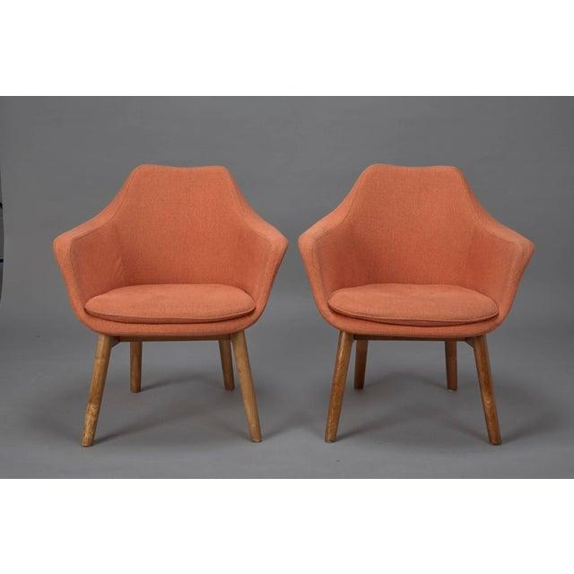 Orange Fabric Mid-Century Modern Armchairs in Style of Eero Saarinen- A Pair For Sale In Boston - Image 6 of 6
