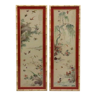 Silk Asian Panels in Faux Bamboo Frames - Pair For Sale