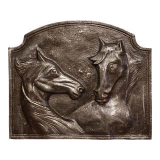Mid-19th Century French Polished Iron Fireback With Horse Head Sculptures For Sale