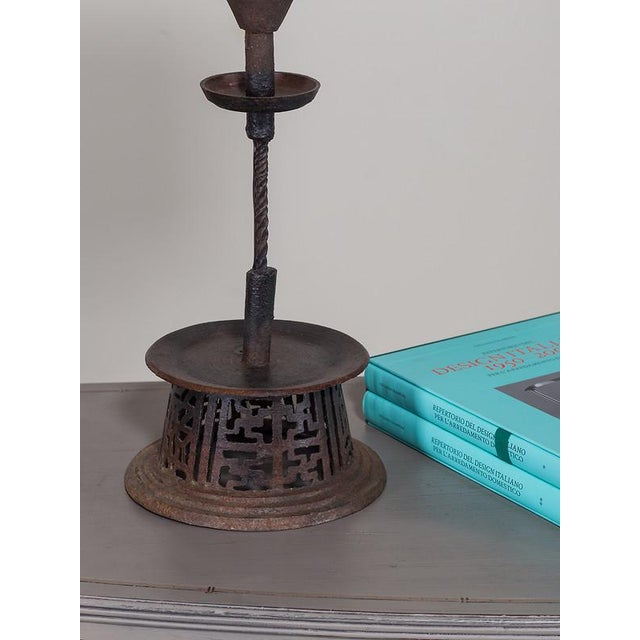 Handsome Hand-Made Antique Iron Candlestick from India circa 1890 Now Wired as a Lamp. - Image 6 of 8