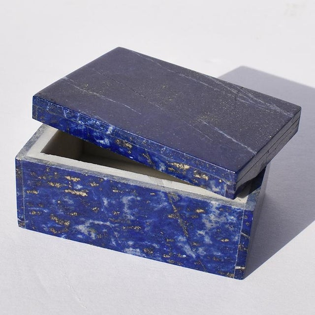 Blue Lapis Lazuli and Marble Stone Rectangular Jewelry or Trinket Box For Sale - Image 4 of 7