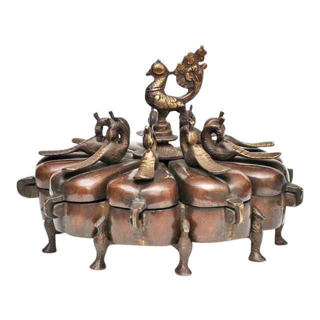 17th -18th Century Antique Chinese Peacock Spice Box For Sale
