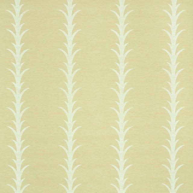 Sample - Schumacher X Celerie Kemble Acanthus Stripe Vinyl Wallpaper in Natural For Sale