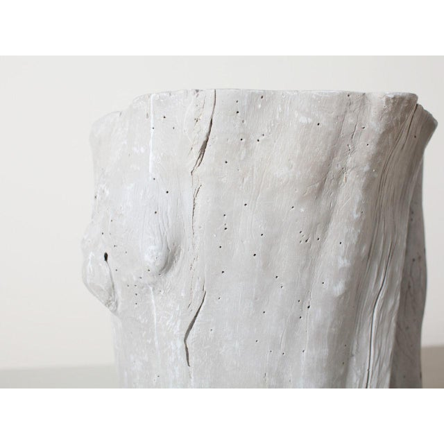 2010s Traditional Light Grey Resin Tree Hollow Planter For Sale - Image 5 of 6