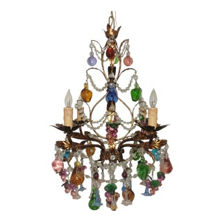 Antique Italian Venetian Tole Murano Gilt Metal Fruit Prisms Light Fixture Chandelier For Sale