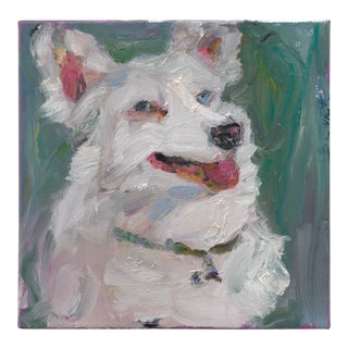 Contemporary Painted Portrait, White in Green Square For Sale