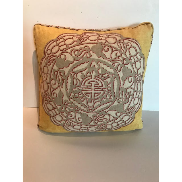 A Madcap cottage Manuel Canovas fabric Chinoiserie-style throw pillow with hidden zipper. Chinese-style medallion on front...