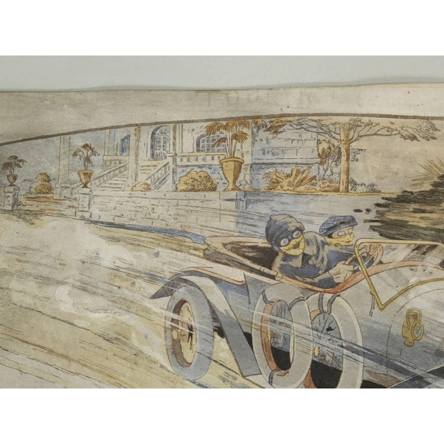 Gamy French Automobile Lithograph, Hand-Colored Majola Auto Circa 1913 For Sale - Image 4 of 11