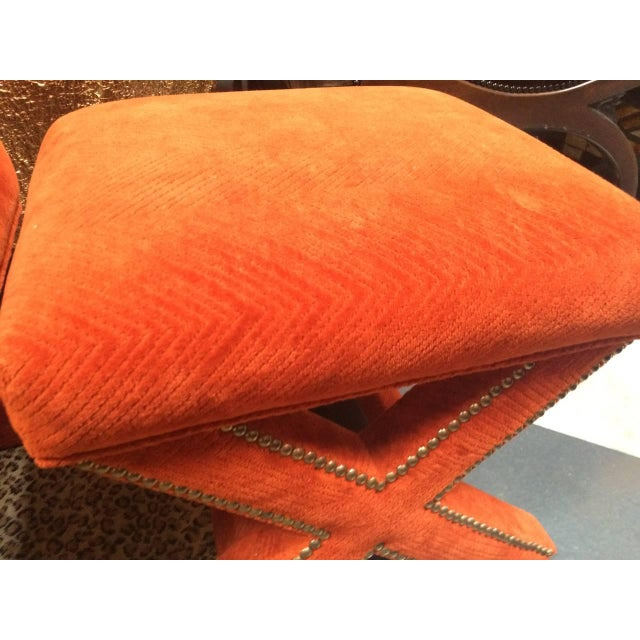 Orange Velvet X-Leg Ottomans - Pair - Image 2 of 2