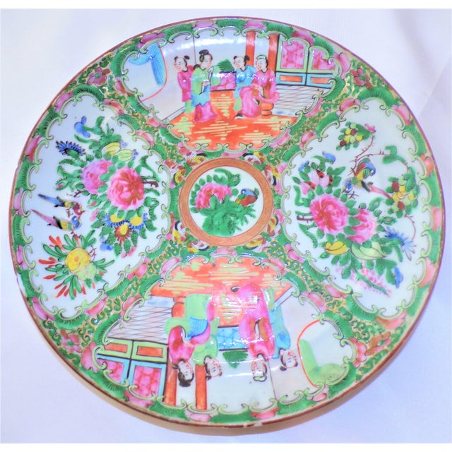 Ceramic Vintage Rose Famille Medallion Chinoiseries Plate For Sale - Image 7 of 7