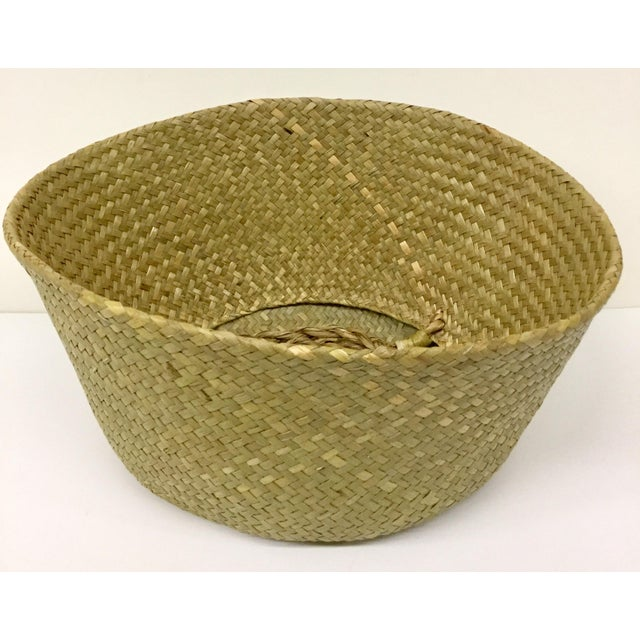 Boho Chic Natural Straw Collapsible Basket For Sale - Image 3 of 12