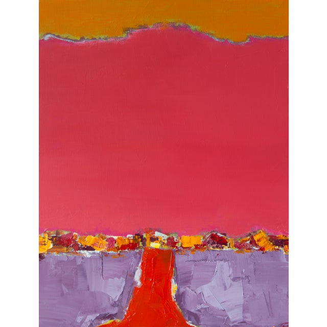 """Bill Tansey """"Red Road"""" Abstract Oil Painting on Canvas For Sale"""