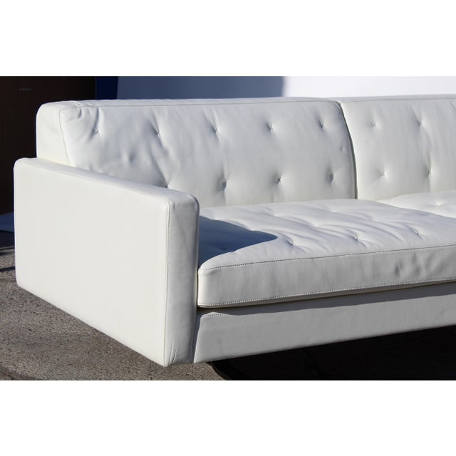 Modern Over-Scale Poltona Frau 'Italy' Leather and Stainless Steel Sofa For Sale - Image 3 of 9