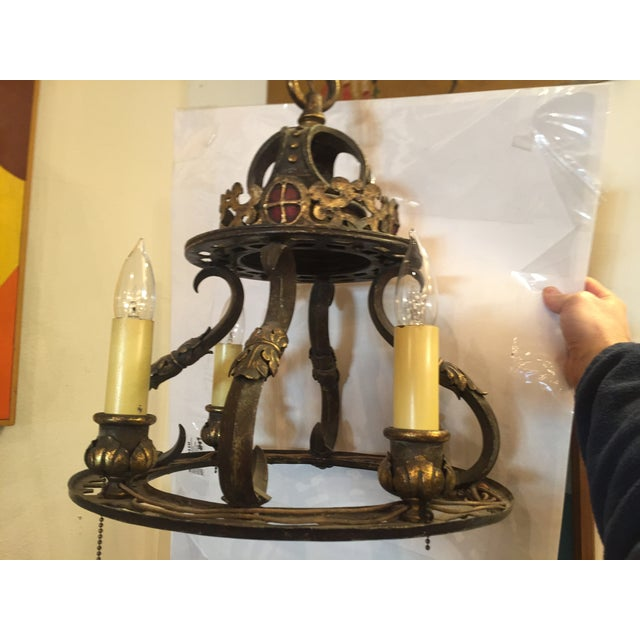 Gothic Early 20th Century Wrought Iron Gothic Light Chandelier For Sale - Image 3 of 7