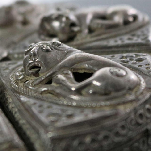 Antique India Pierced Silver Overlay Spice Box With Six Compartments For Sale - Image 6 of 13