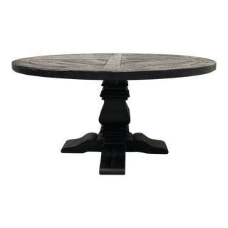 Restoration Hardware Timothy Oulton Salvaged Wood Trestle Round Dining Table For Sale