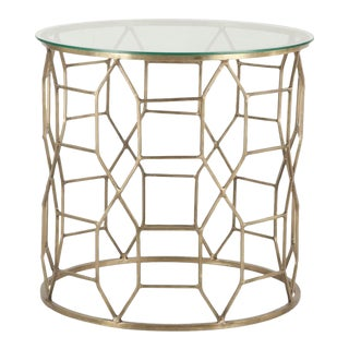 Hand-Forged Metal and Glass Side Table