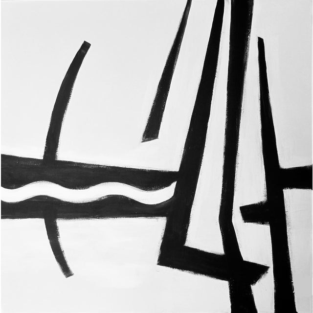 """2010s Kathi Blinn """"Cruisin'"""" Contemporary Black and White Acrylic Painting For Sale - Image 5 of 5"""