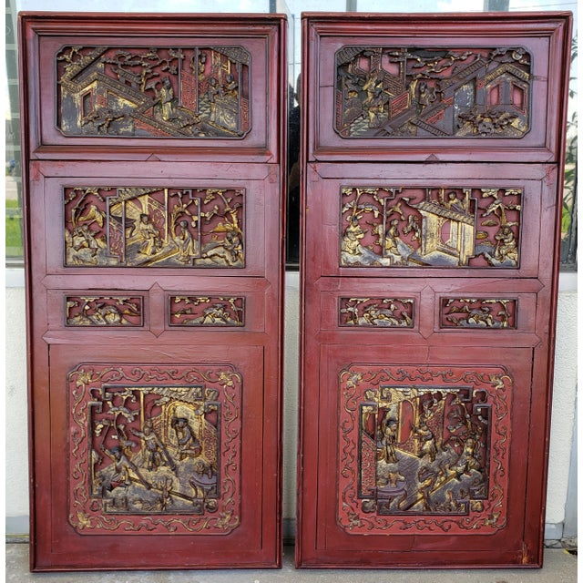 Late 19th Century Chinese Carved Gilded Lacquered Wood Imperial Court Motif Panels - a Pair For Sale - Image 9 of 9
