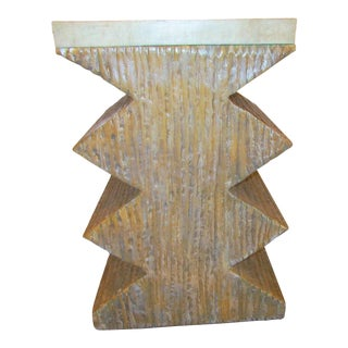 Faux Marble Topped ZigZag Table For Sale