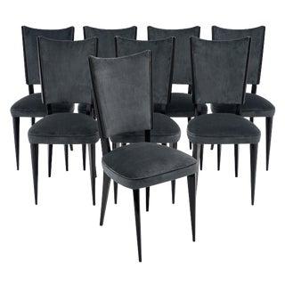 Mid-Century Dark Gray Velvet Beechwood Dining Chairs - Set of 8 For Sale