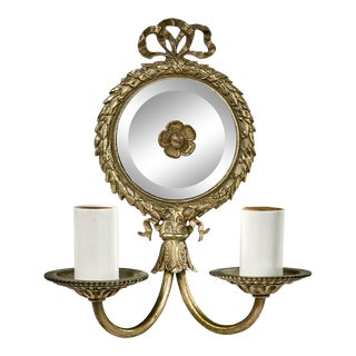 Petite Antique French Pewter Two Arm Wall Sconce With Round Mirror For Sale