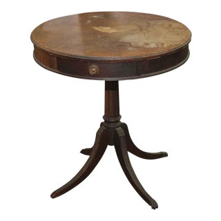 Mahogany Round Side Table With Center Drawer For Sale